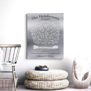 40th Anniversary Gift Personalized Family Tree Poem Gift For Parents Faux Shiny Tin Custom Art Print 1347