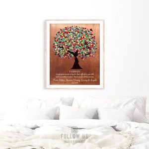 Mentor Gift Colorful Tree of Faux Copper Background Personalized Thank You Gift Custom Art Print Plaque 1408