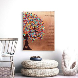 7 Year Anniversary Love Is Patient Corinthians Colorful Spring Tree Faux Copper Background Custom Art Print 1403