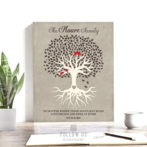 Personalized Family Tree Roots Birds Love Begins And Ends At Home Brown Cream Beige Custom Art Print 1341
