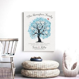 Family Tree Personalized Blue And White Ten Year Anniversary Tin Anniversary Gift For Couple Custom Art Print 1343