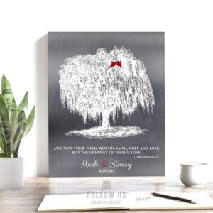 Personalized Willow Tree Corinthians 13:13 Faith Hope Love 10th Anniversary Gift Faux Shiny Tin Custom Art Print 1412