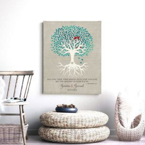 Personalzied Corinthians 13:13 Turquoise Leaves Faux Texture Background Minimalist Tree Custom Art Print 1413