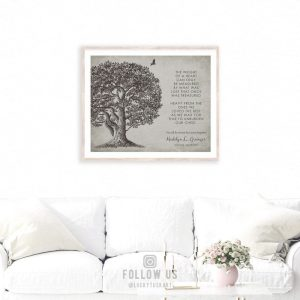 Memorial Plaque In Loving Memory Poem Oak Tree Sympathy Gift For Family Custom Art Print #1328