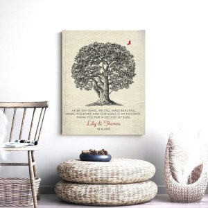 Our Song Is My Favorite Personalized Ten Year Anniversary Oak Tree Poem Gift For Husband Custom Art Print #1340