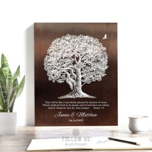 They Will Be Like A Tree Firmly Planted Psalm 1:3 Large Oak Personalized Names Anniversary Gift Custom Art Print 1414