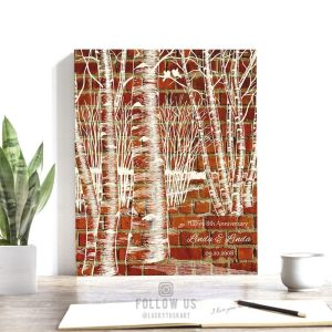 Birch Tree Forest on Faux Brick Background 8 Year Clay Pottery Traditional Custom Art Print 1404