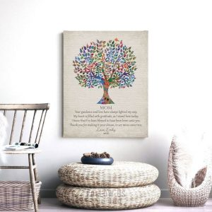 Gift For Mother Poetry Family Tree Thank You Gift For Mom Making My Dream Come True Custom Art Print 1396