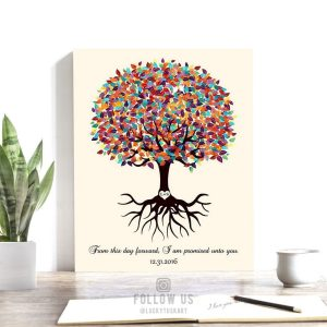 Engagement Gift For Couple Wedding Keepsake Colorful Tree Roots Minimalist Promised Unto You Custom Art 1425