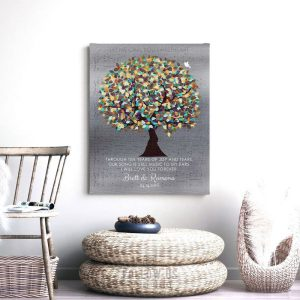 Personalized 10 Year Anniversary Colorful Wedding Tree Sheet Music Song Gift For Couple Custom Art Print #1338