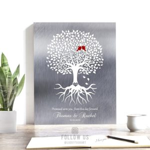 Personalized Wedding Engagement Gift Keepsake Gift For Fiance Couple Faux Shiny Tin Minimalist Tree Custom Art 1421