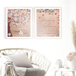 2 Piece Set | Faux Copper | 7 Year Anniversary Gift | Personalized | Love Poem | Wedding Vows | Gift For Couple Custom Art Print #LT-1178