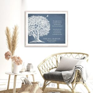 Memorial Plaque In Loving Memory Poem Oak Tree Sympathy Gift For Family Custom Art Print #1329