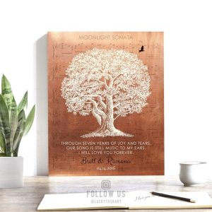 Seven Year 7th Anniversary Poem Sheet Music Song Faux Copper Personalized Gift For Couple Custom Art Print #1332