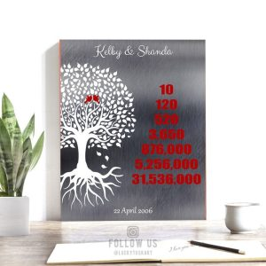 Personalized 10 Year Countdown Family Tree Roots Faux Shiny Silver And Red Custom Art Print #1346