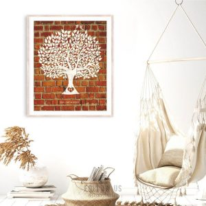 Traditional 8 Year Faux Brick Clay Pottery Anniversary Personalized Family Tree Gift For Couple Custom Art Print #1383