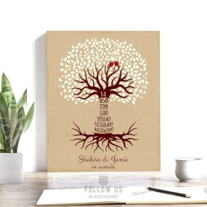 14th Year Fourteenth Anniversary Date Sign Gift Personalized Family Countdown Family Tree Roots Custom Print Metal Canvas Paper Plaque 1444