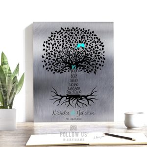 16th Year Sixteenth Anniversary Date Sign Gift Personalized Family Countdown Family Tree Roots Custom Print Metal Canvas Paper Plaque 1446