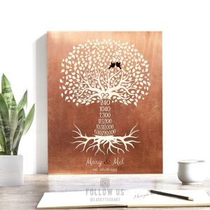 22 Year 22nd Year Anniversary Gift Date Sign Copper Personalized Family Countdown Tree Roots Custom Print Metal Canvas Paper Plaque 1452