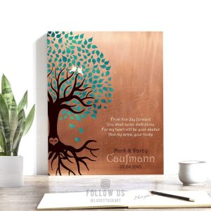 Personalized Love Poem 7th Anniversary Gift From This Day Forward You Shall Never Walk Alone Tree Silhouette Roots Copper Custom Metal Art Print 1455