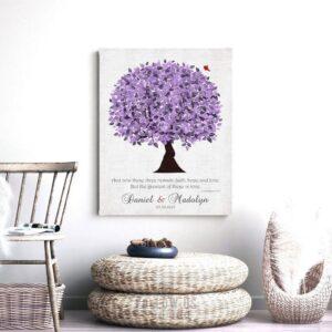 Purple Wedding Tree Personalized 10 Year Anniversary Gift Corinthians 13:13 Vintage 13th Wedding Tree Custom Canvas Paper Metal Print 1476