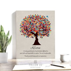 Personalized Gift For Friend Mentor Multi Colorful Tree Moving Gift Going Away Retirement Teacher Colleague Custom Art Print on Paper Canvas Metal 1492