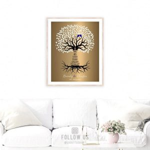 8th Wedding Anniversary 8 Years Personalized Wedding Tree Gift Faux Bronze Onyx Gift For Couple Custom Art Print on Paper Canvas Metal #1437