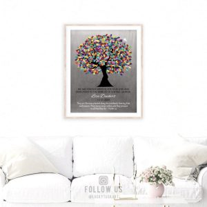 Personalized Plaque Autism Teacher Gift for Autism Teacher Administration Staff Watercolor Tree Paper, Canvas or Metal Custom Art Print 1498