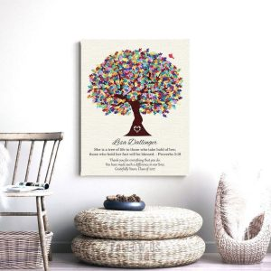 Personalized Plaque Autism Teacher Gift for Autism Teacher Administration Staff Watercolor Tree Paper, Canvas or Metal Custom Art Print 1499