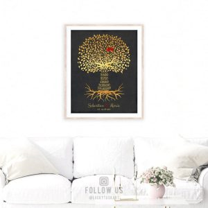 50th Year Anniversary Date Sign Gift Personalized Family Countdown Gold Black Family Tree Roots Custom Print Metal Canvas Paper Plaque 1453