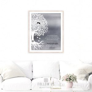 Personalized Love Poem From This Day Forward You Shall Never Walk Alone Tree Silhouette Roots Silver Anniversary Gift Custom Metal Art Print 1439