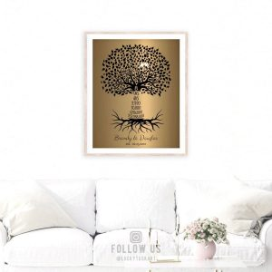 8 Year Anniversary Personalized Wedding Tree Gift Faux Bronze Onyx Gift For Couple Countdown Custom Art Print on Paper Canvas Metal #1466