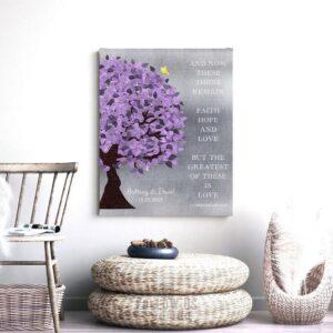 10 Year Anniversary Corinthians 13:13 Background Purple Silver Personalized Shiny Tin 25th Wedding Tree Custom Canvas Paper Metal Print 1475