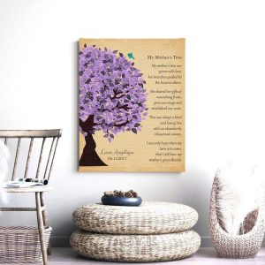 Personalized Mother's Day Gift Purple Watercolor My Mothers Tree Poem Thank You Gift For Mom Custom Art Print on Paper, Canvas or Metal 1478