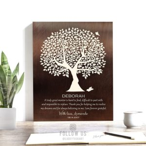 Personalized Gift For Mentor Faux Bronze Turquoise Tree Gift For Boss Preceptor Teacher Couple Custom Art Print #1392