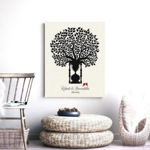 1 Year Anniversary Traditional Paper Black Cream Personalized Hourglass Tree Gift For Couple Custom Art Print #1388