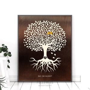 Personalized Anniversary Minimalist Tree on Faux Bronze Background Gift For Couple 8th Year Custom Art Print #1391