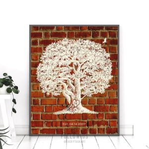 8th Traditional Wedding Anniversary Faux Pottery Bricks Personalized Oak Tree Gift For Couple Custom Art Print #1381