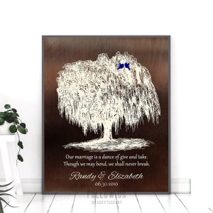 9 Year Anniversary Personalized Family Willow Tree Gift Faux Bronze Background Gift For Couple Custom Art Print #1380