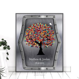 11th Wedding Anniversary Faux Steel Colorful Spring Tree Marriage Personalized Gift For Couple Custom Art Print #1376