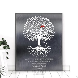 10 Year Anniversary Personalized Family Minimalist Tin Wedding Tree Amethyst Gift For Couple Custom Art Print #1371