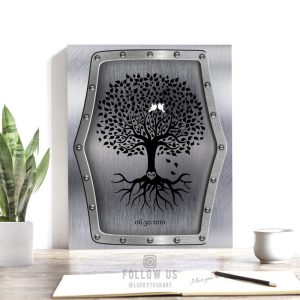 11 Year Anniversary Personalized Family Wedding Tree Faux Steel White Dove Gift For Couple Custom Art Print #1375