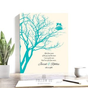 4th Anniversary Gift Personalized Family Wedding Tree Gift Blue Topaz Poetry Gift For Couple Custom Art Print #1367