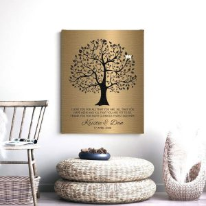 8 Year Anniversary Personalized Wedding Tree Gift Faux Bronze Onyx Gift For Couple Custom Art Print #1378