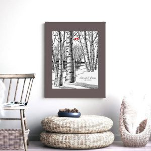 Winter Romance Wedding Bare Birch Tree Forest Snow 10 Year Anniversary Gift For Wife Custom Art Print 1399