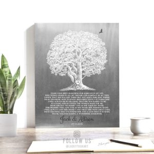 Thank You Gift For Brides Parents Gift From Groom For Mother of Bride Large Oak Faux Aged Tin Custom Art Print 1416