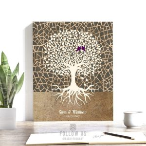 Minimalist Tree Roots Taupe Cream Brown Designs Personalized Anniversary Gift For Couple Custom Art Print 1348