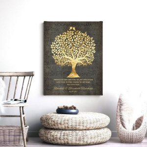 50th Wedding Anniversary Song Notes Music To My Ears Faux Gold Foil Family Tree Personalized Gift Custom Art Print 1415