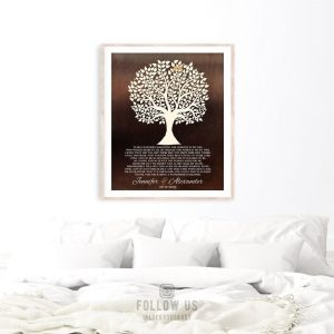 Mother of Bride Gift For Parents From Groom Faux Dark Bronze Tree of Life Year Searching Poem Custom Art Print 1409