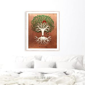 Minimalist Tree Roots Green Canopy Red Cardinal Birds 7 Year Anniversary Faux Copper Custom Art Print 1398